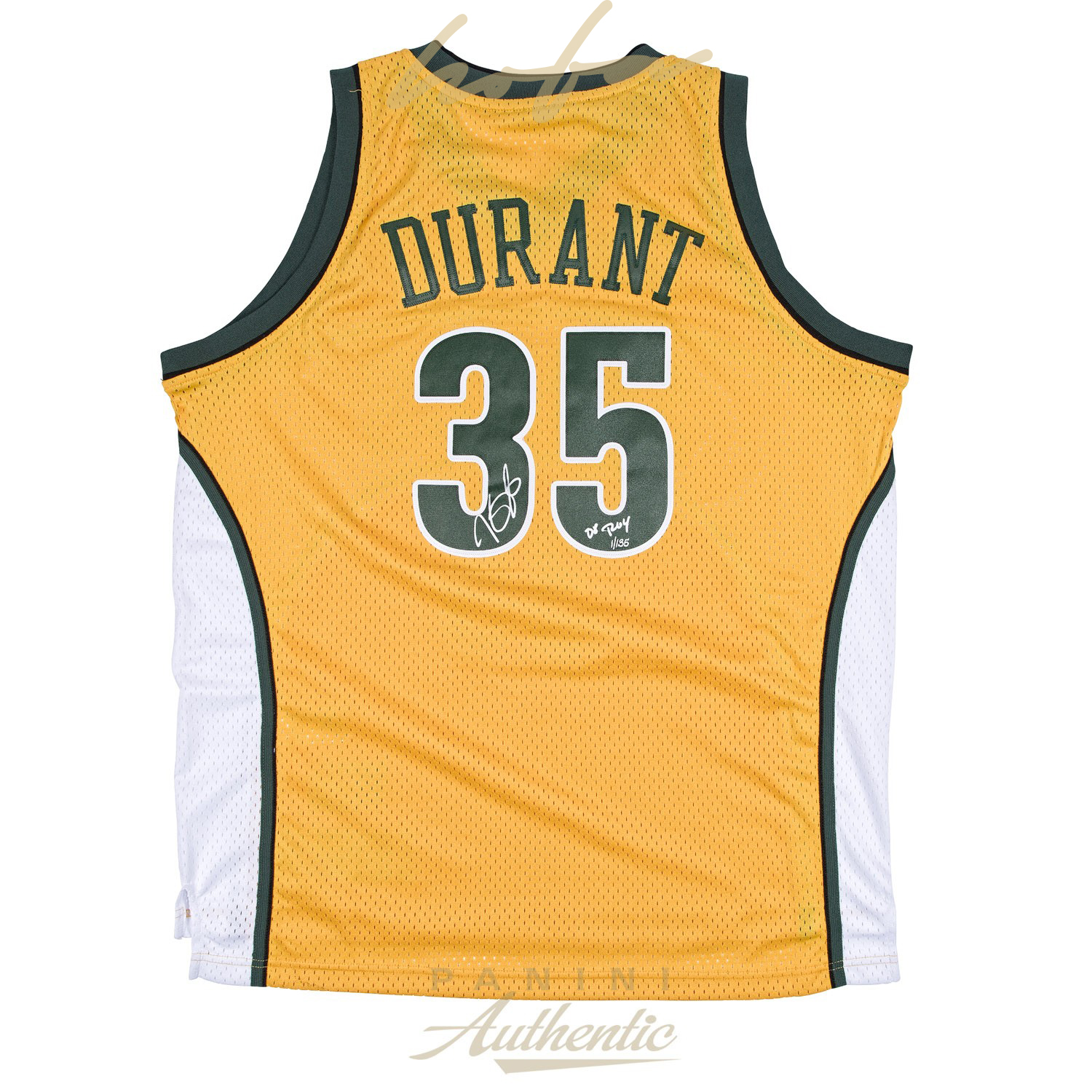 new arrivals 18acb d2597 KEVIN DURANT AUTOGRAPHED YELLOW SUPER SONICS SWINGMAN JERSEY WITH