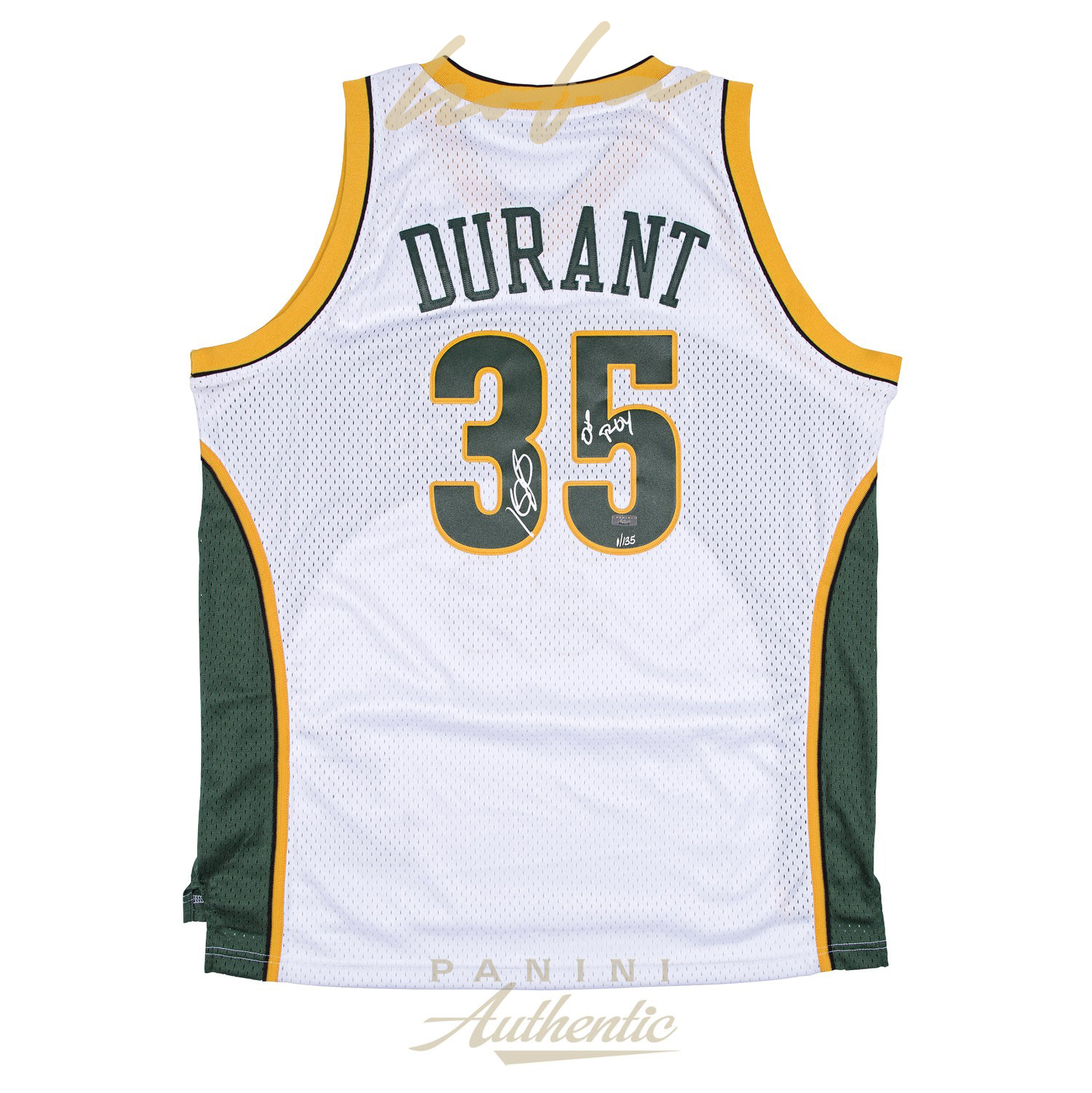 official photos 863b7 faa3b KEVIN DURANT AUTOGRAPHED WHITE SUPER SONICS SWINGMAN JERSEY WITH