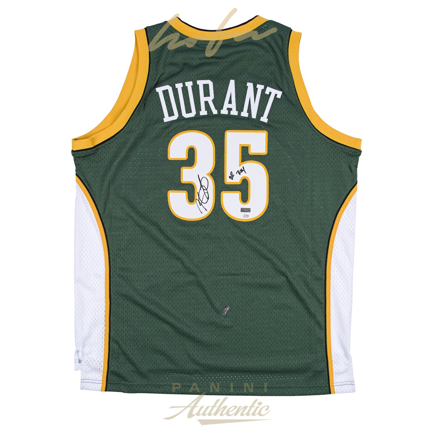 official photos 2891f 115af KEVIN DURANT AUTOGRAPHED GREEN SUPER SONICS SWINGMAN JERSEY WITH