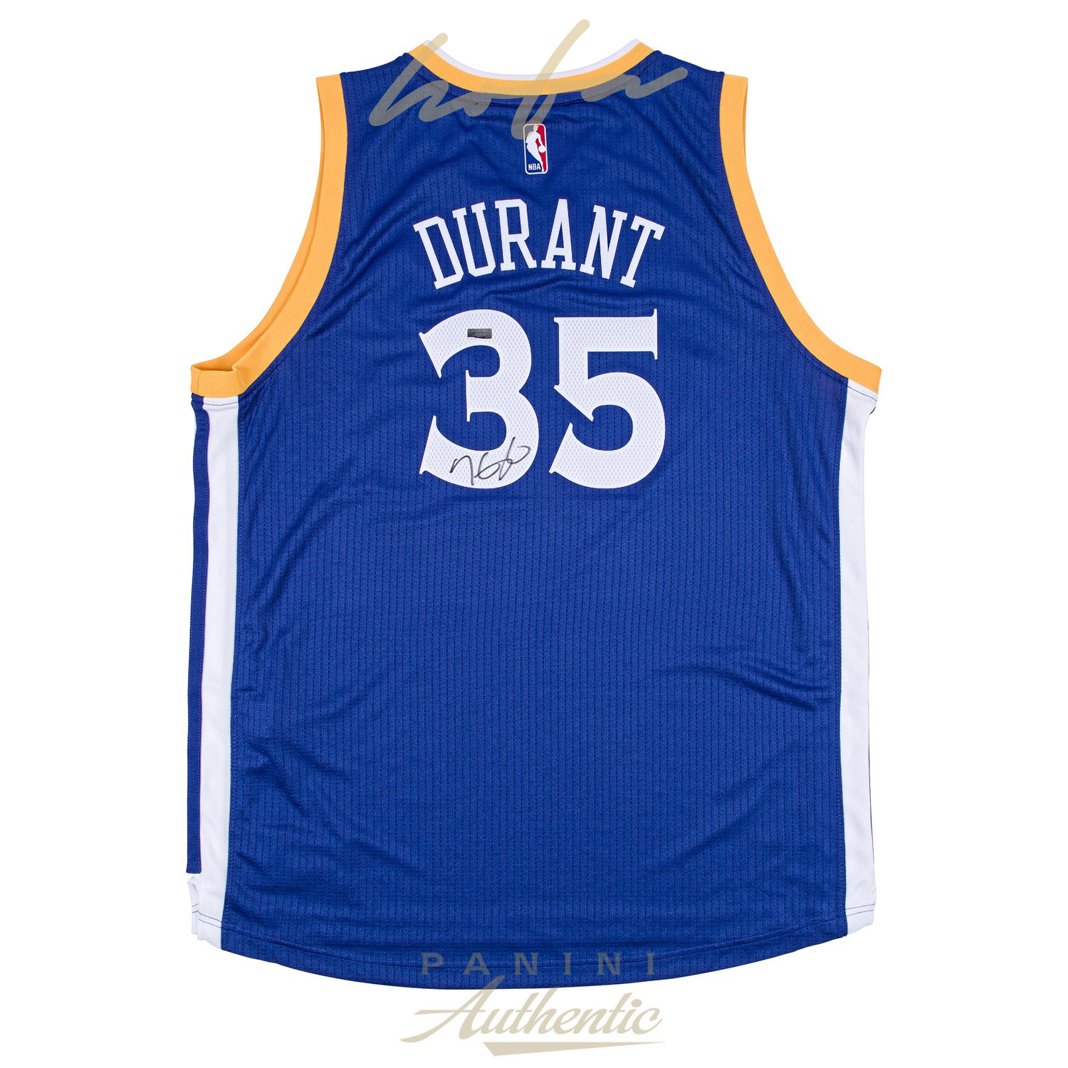 sports shoes fb8ee 3e6ce KEVIN DURANT AUTOGRAPHED ROYAL BLUE WARRIORS ALTERNATE SWINGMAN JERSEY