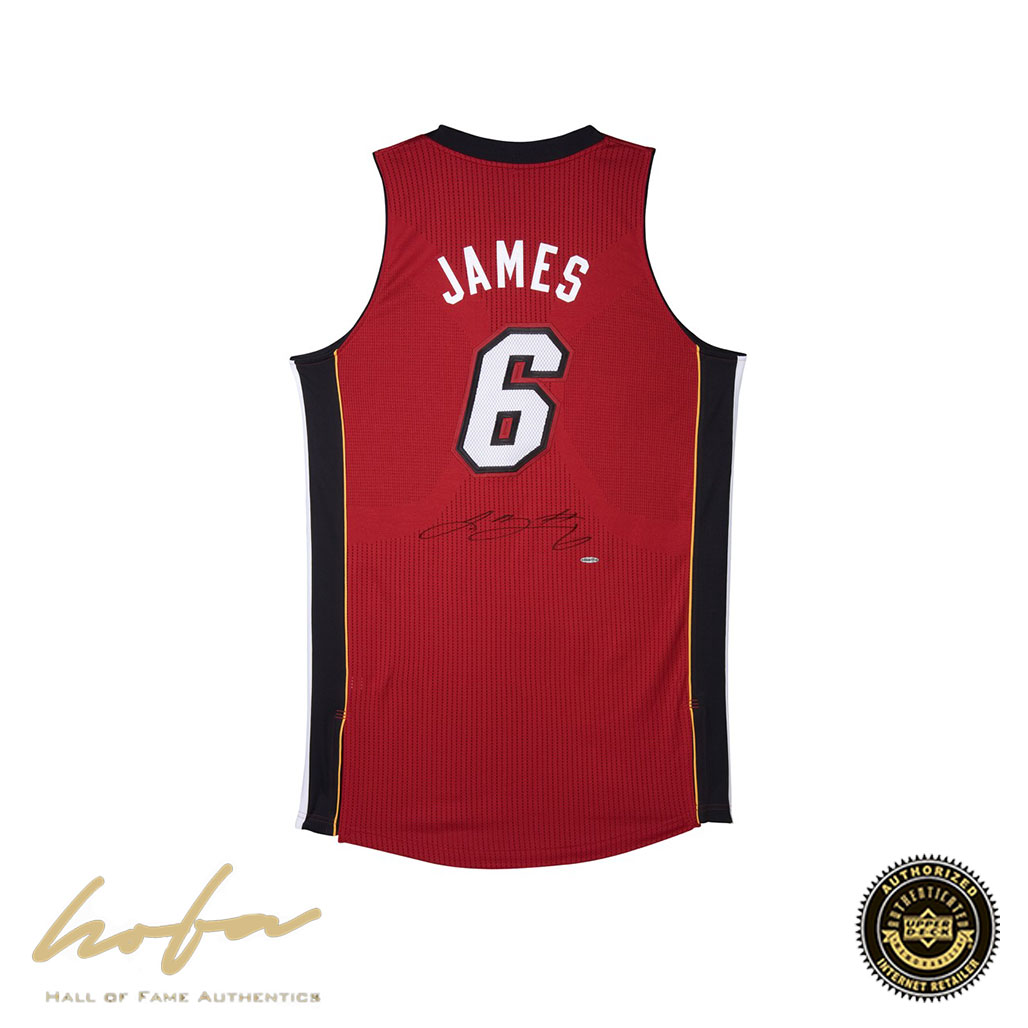 new product 637c1 7695b LEBRON JAMES HEAT ALTERNATE RED JERSEY