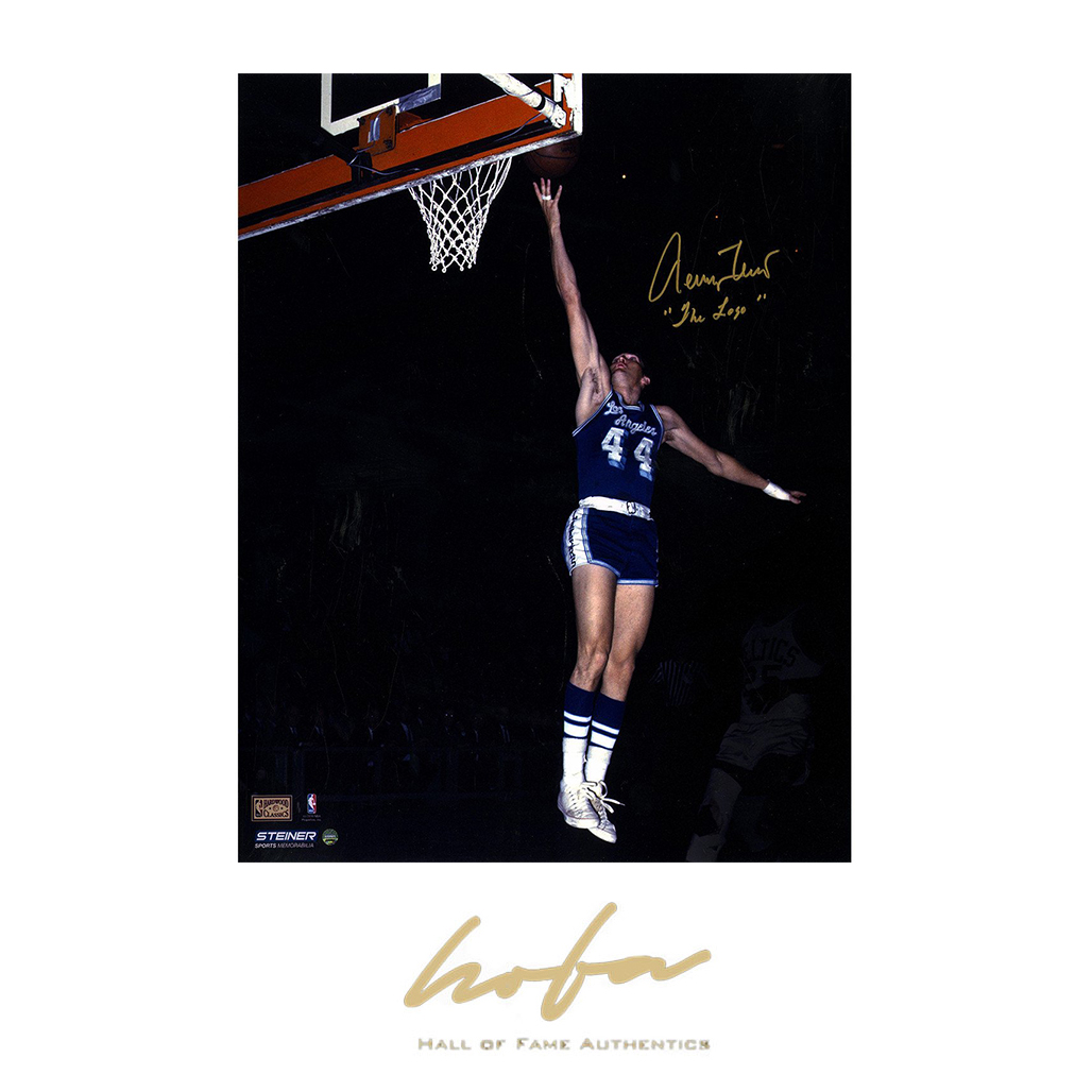 the best attitude 6c9b4 27336 Jerry West Signed Los Angeles Lakers Blue Jersey 16x20 Photo w/