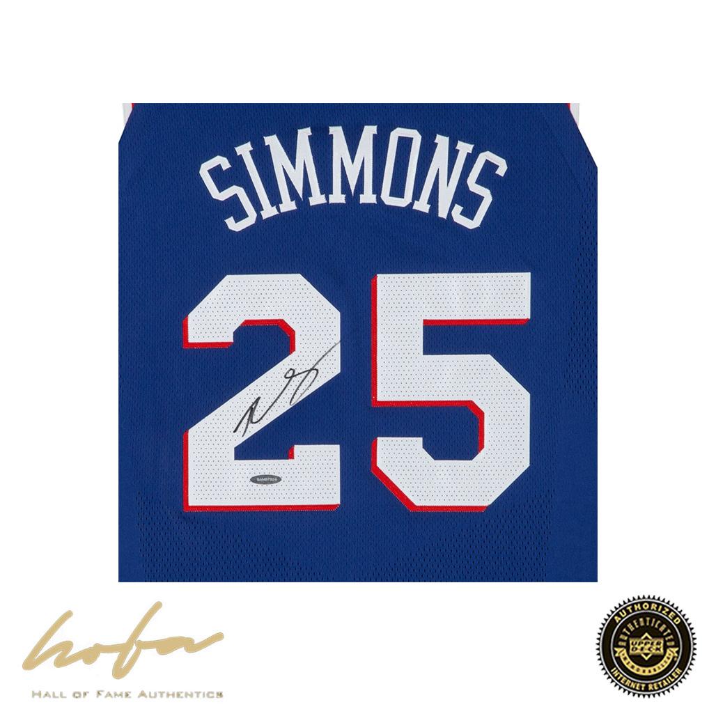 online store 2519b 73654 BEN SIMMONS AUTOGRAPHED PHILADELPHIA 76ERS BLUE AUTHENTIC NIKE JERSEY