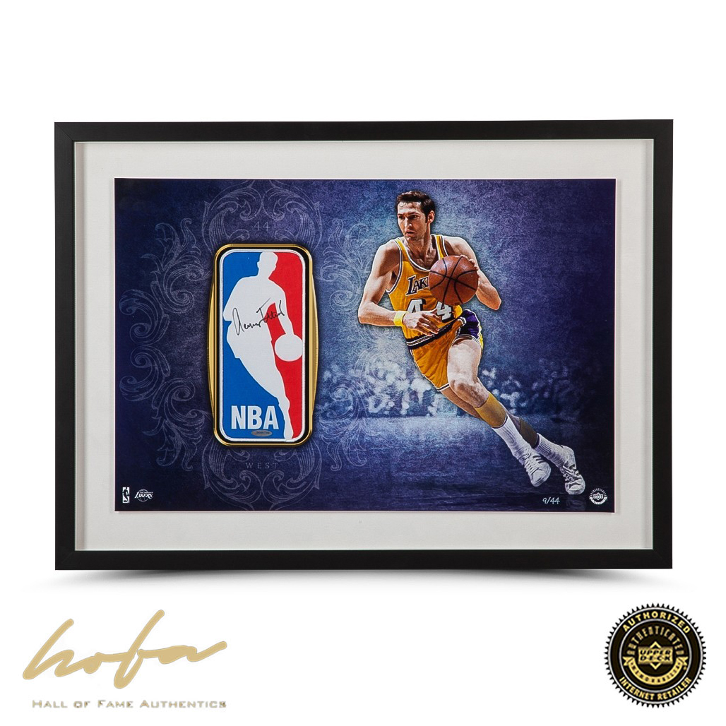 new style 4c5ef 57d4e JERRY WEST AUTOGRAPHED FRAMED LOGO MAN PATCH - L44