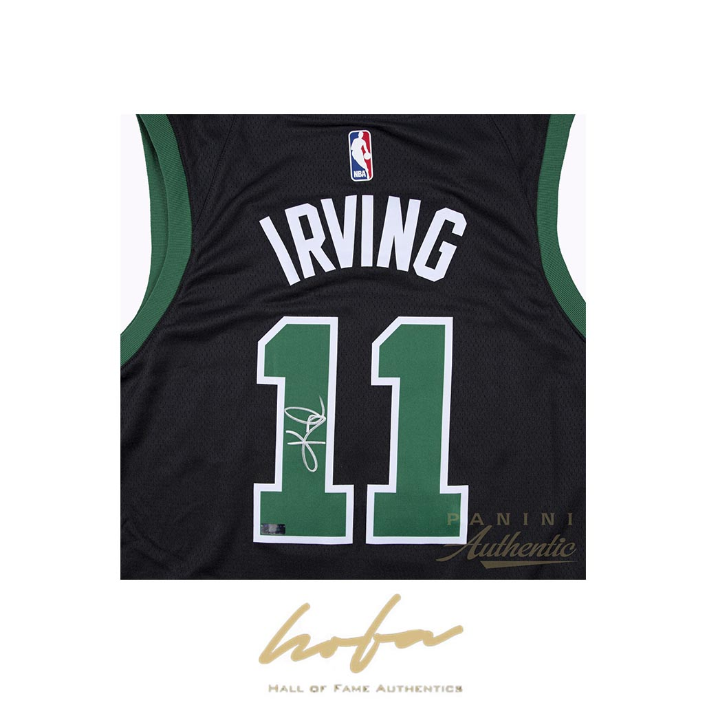 pick up 8c620 5ebc1 KYRIE IRVING AUTOGRAPHED BLACK NIKE BOSTON CELTICS SWINGMAN JERSEY