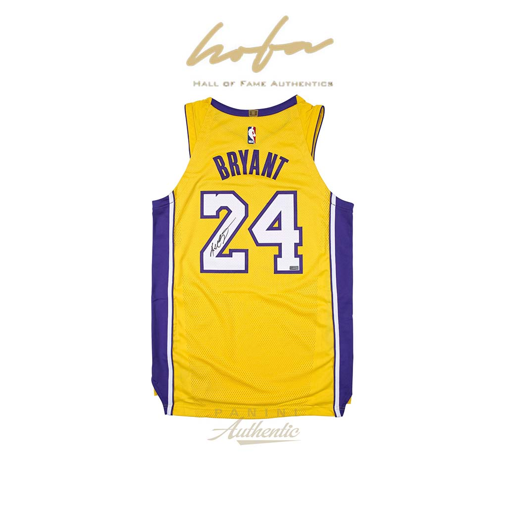 best sneakers fa260 7bd27 KOBE BRYANT AUTOGRAPHED 2018 NIKE LOS ANGELES LAKERS GOLD AUTHENTIC JERSEY