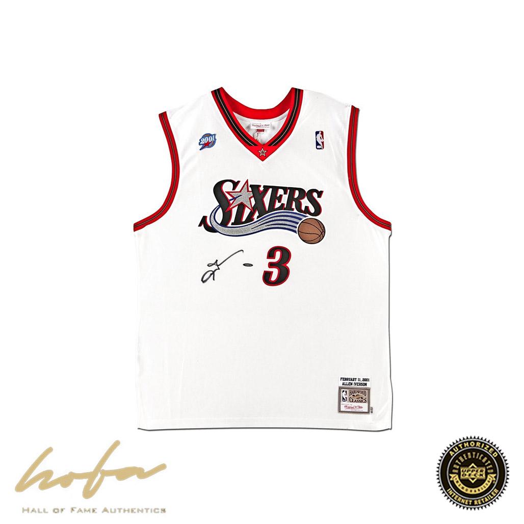 the best attitude c90d8 cc84e ALLEN IVERSON AUTOGRAPHED 2001 PHILADELPHIA 76ERS NBA ALL-STAR GAME WHITE  AUTHENTIC MITCHELL & NESS JERSEY