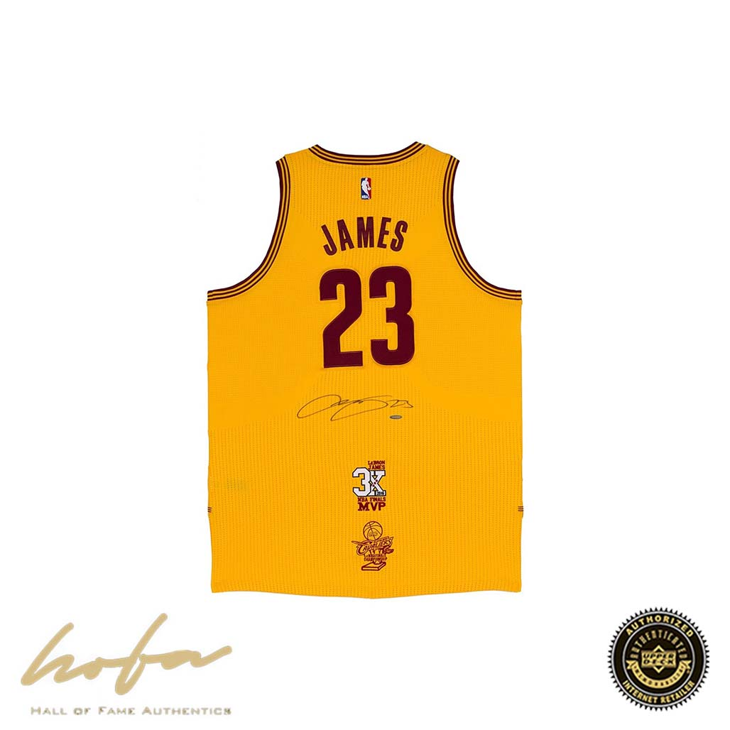 best service 4d288 25bc0 LEBRON JAMES CLEVELAND CAVALIERS GOLD JERSEY WITH 3X FINALS MVP &  CHAMPIONSHIP PATCHES