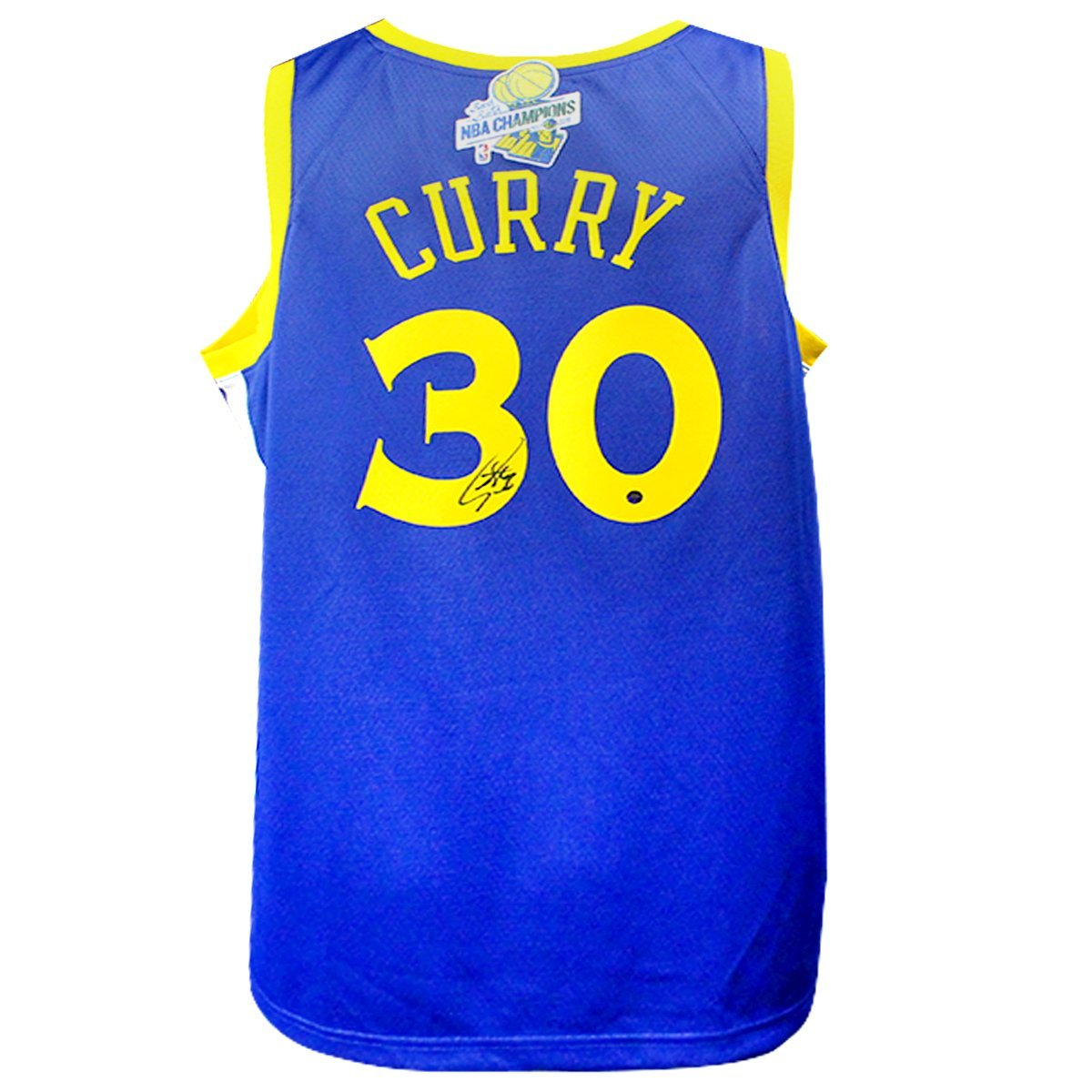 cheap for discount 39e0c 9072d STEPHEN CURRY SIGNED GOLDEN STATE WARRIORS NIKE BLUE SWINGMAN JERSEY WITH  2017-18 BACK TO BACK CHAMPIONS PATCH