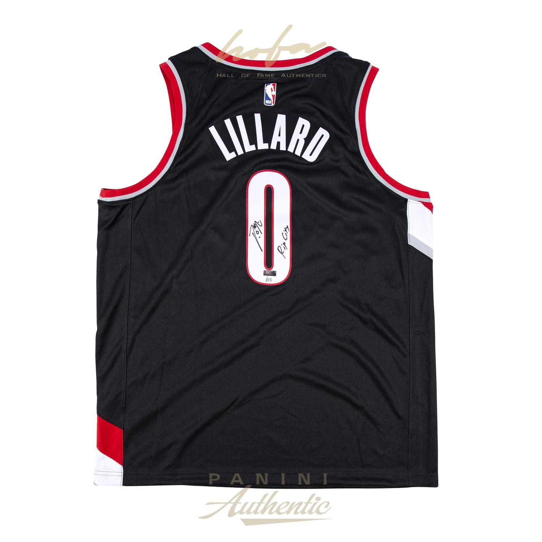 online retailer c995b da33d DAMIAN LILLARD AUTOGRAPHED BLACK NIKE PORTLAND TRAILBLAZERS SWINGMAN JERSEY  WITH