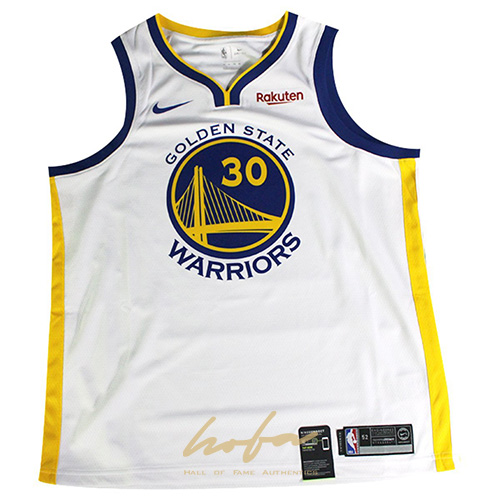 low priced 1cc52 d6f51 Stephen Curry Signed Golden State Warriors Nike Dri-FIT Men's Swingman  Association Jersey - White (On Court Style with Rakuten logo)