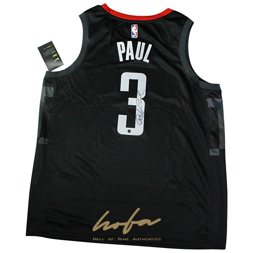 newest 31936 c364a Chris Paul Signed Houston Rockets Nike Black Swingman Statement Edition  Jersey