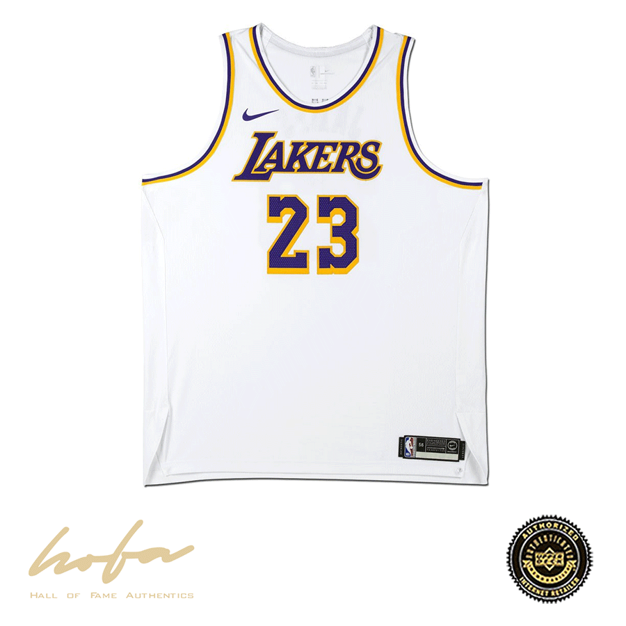 LEBRON JAMES LAKERS NIKE AUTHENTIC WHITE JERSEY SGFG